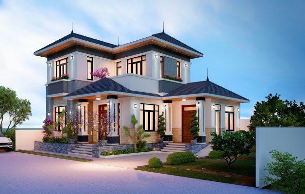 Công trình thiết kế thi công biệt thự 2 tầng mái nhật anh Phú Yên Lạc Vĩnh Phúc
