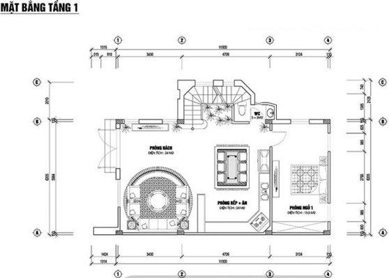 Bản thiết kế nhà phố 2 tầng 1 tum