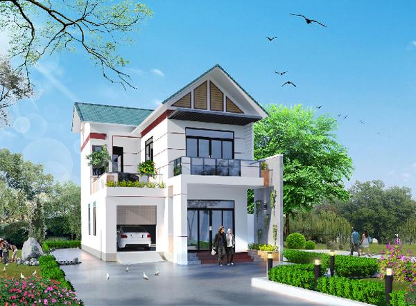 Mẫu nhà 2 tầng mặt tiền 8m hiện đại đẹp ấn tượng