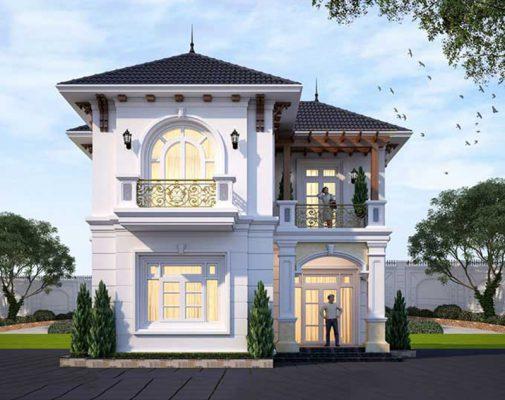 Thiết kế nhà mái Nhật 2 tầng chữ L