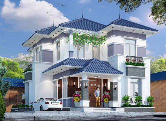 Thiết kế nhà hai tầng mái Nhật mặt tiền rộng