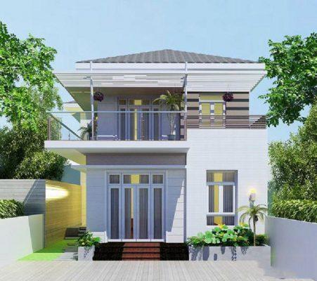 Thiết kế nhà hai tầng mái Nhật đơn giản
