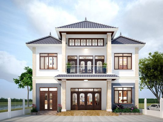 Thiết kế nhà hai tầng mái Nhật đẹp xuất sắc