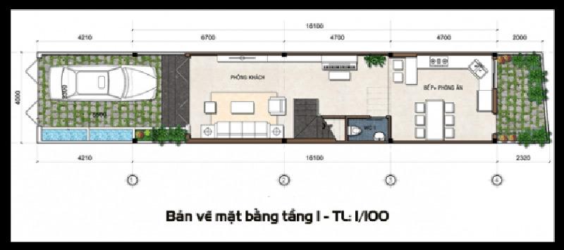 Bản vẽ tầng 1 nhà phố 3 tầng tân cổ điển anh Thành ở Tam Dương -Vĩnh Phúc