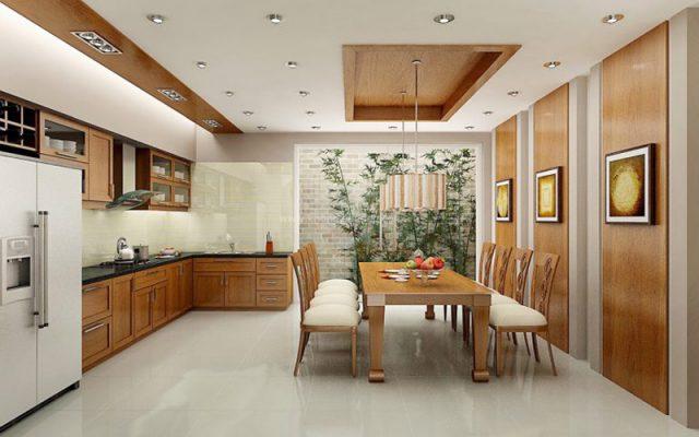 Không gian mở cho bếp và phòng ăn