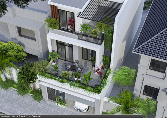 Thiết kế nhà phố hiện đại  7x19m tại Lập Thạch - Vĩnh Phúc