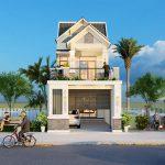 Thiết kế nhà phố 2 tầng 84m2 mái thái đẹp cho chú Quang Bình Xuyên Vĩnh Phúc