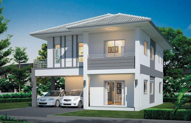 Thiết kế nhà vuông hai tầng mái thái