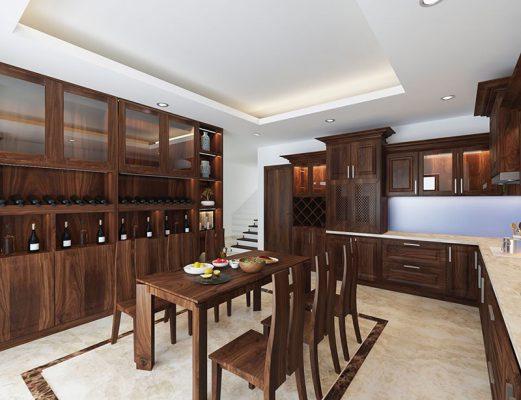 Thi công nội thất theo yêu cầu không gian bếp gỗ tự nhiên