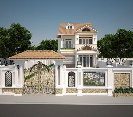 Thiết kế nhà hai tầng mái Thái lạ mắt