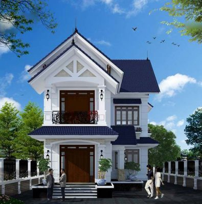 Thiết kế nhà hai tầng mái Thái chữ L