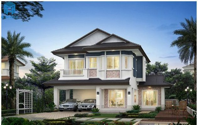 Thiết kế nhà hai tầng mái Thái ấn tượng