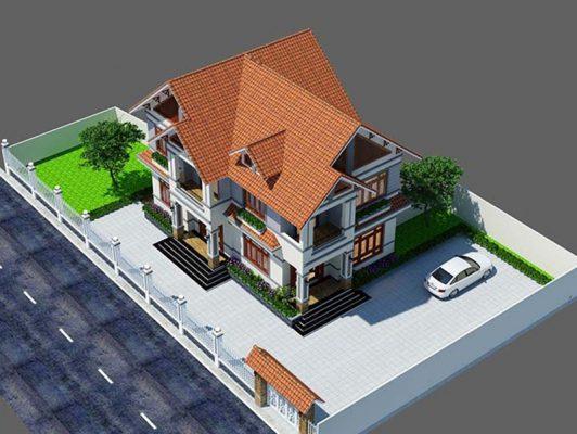 Thiết kế nhà hai tầng mái Thái đẹp