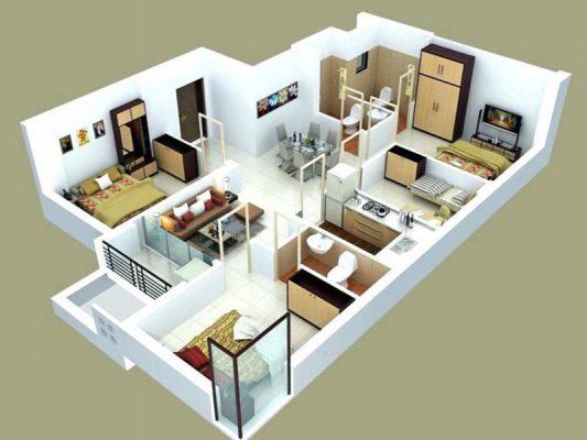 Thiết kế nhà mái Thái 1 tầng 4 phòng ngủ