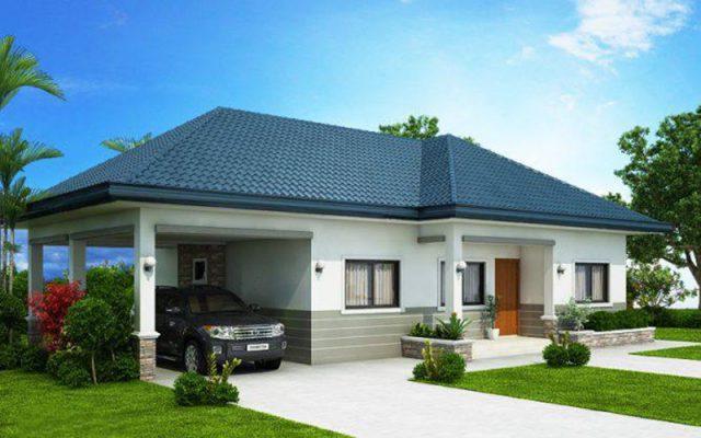 Thiết kế nhà mái Thái 1 tầng 4 phòng ngủ có gara ô tô