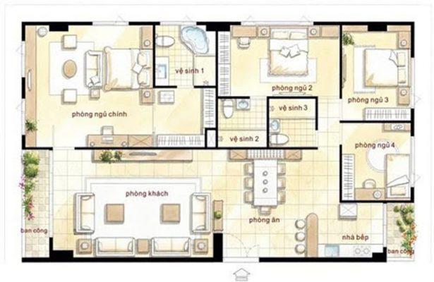 Thiết kế nhà mái Thái 1 tầng 4 phòng ngủ đẹp
