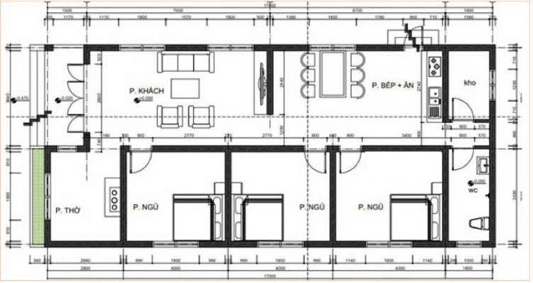 Nhà mái thái hiện đại có 3 phòng ngủ