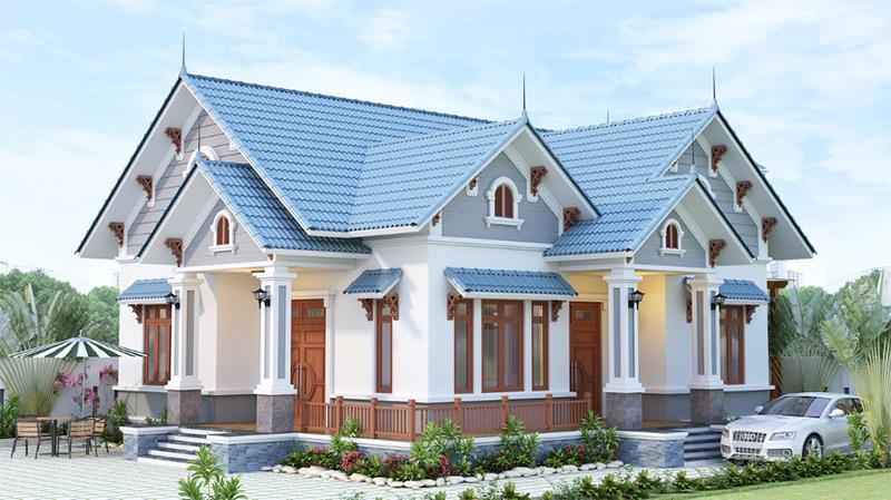 Thiết kế nhà mái Thái có mặt tiền rộng