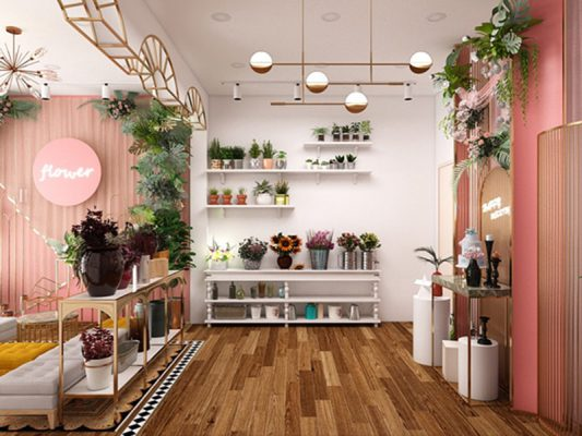 Thiết kế nội thất shop hoa tươi hiện đại