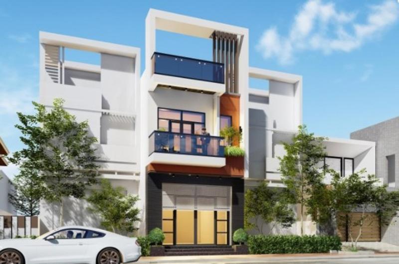 Thiết kế nhà phố hai tầng 1 tum 5x20m phong cách hiện đại