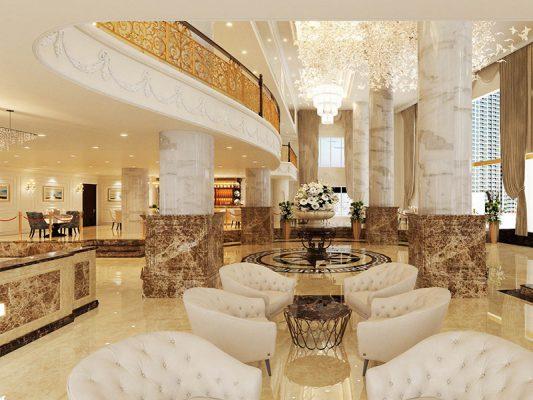 Nội thất lễ tân khách sạn sang trọng