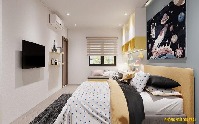 Thiết kế nhà 3 tầng hiện đại - phòng ngủ con trai