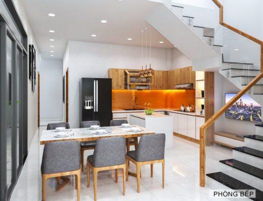 Phòng bếp thiết kế nhà nở hậu 5x14m tại Thanh Hóa