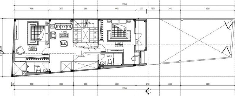 Mặt bằng tầng 2 thiết kế nhà nở hậu 5x14m tại Thanh Hóa
