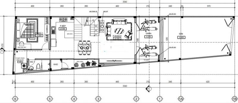 Mặt bằng tầng 1 thiết kế nhà nở hậu 5x14m tại Thanh Hóa