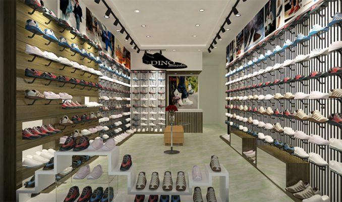 Kệ trưng bày shop giày đẹp mắt