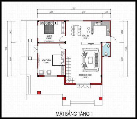 Biệt thự vuông mái thái 2 tầng tại Vĩnh Phúc