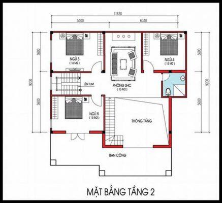 Chi tiết về biệt thự vuông mái thái 2 tầng tại Vĩnh Phúc