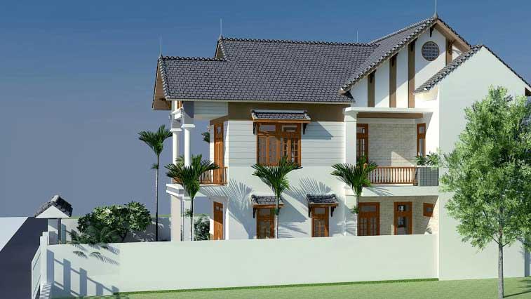 Thi công thiết kế nhà 2 tầng mái nhật tại Phú Thọ