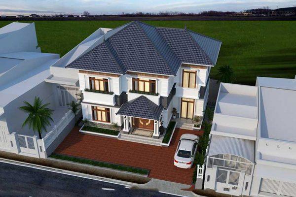 Chi tiết thiết kế nhà 2 tầng mái thái cho anh Quang tại Phúc Yên
