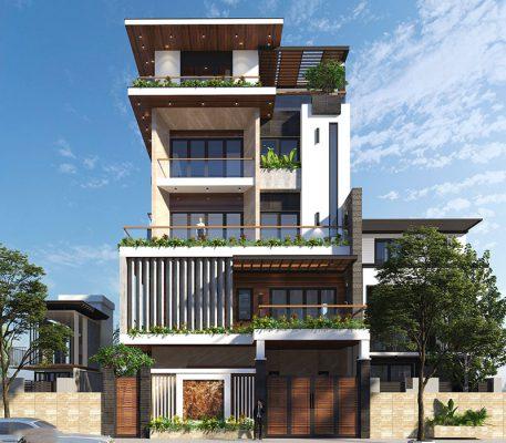 Thiết kế biệt thự hiện đại 5 tầng anh Đại tại Điện Biên