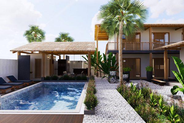 Thiết kế biệt thự có bể bơi đặt sau nhà