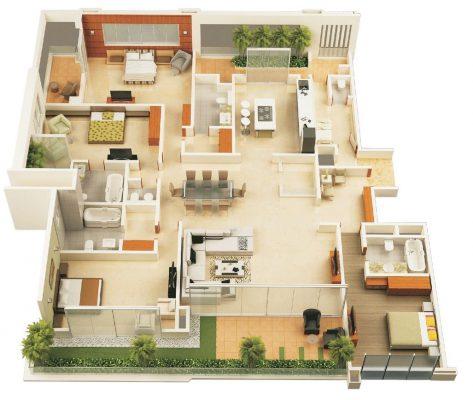 Thiết kế nhà cấp 4 có 4 phòng ngủ và 1 phòng làm việc