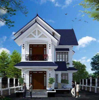 Thiết kế nhà ống 2 tầng mái Thái phong cách tân cổ điển