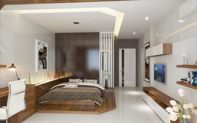 Nội thất phòng ngủ 40m2 bằng gỗ