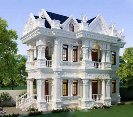 Chi tiết thiết kế biệt thự 2 tầng cổ điển kiểu pháp