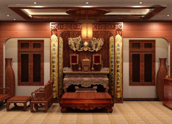 Mẫu trần thạch cao cho phòng thờ tại Vĩnh Phúc