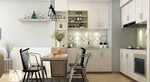 Thiết kế phòng bếp chung cư với gam màu sáng