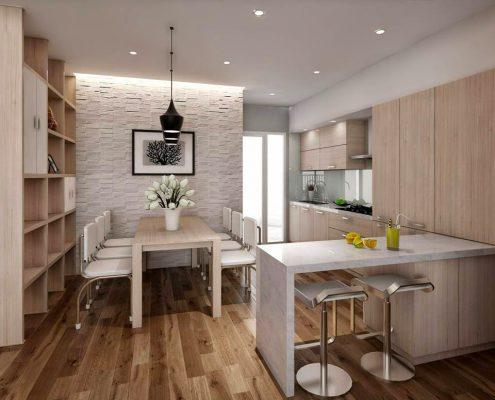 Nội thất bếp chung cư hiện đại