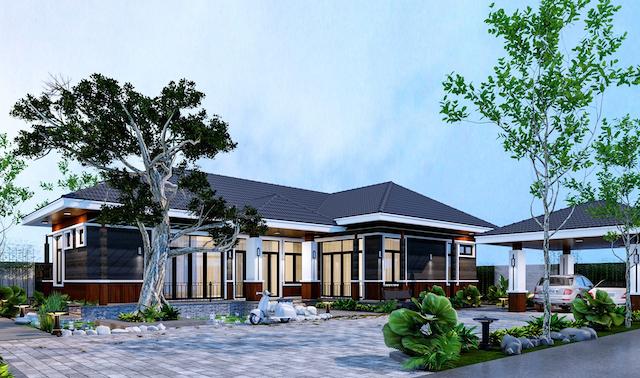 Thiết kế biệt thự 1 tầng 3 phòng ngủ gia đình anh Chung tại Tuyên Quang