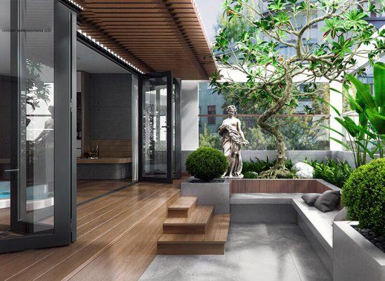 Thiết kế nội thất biệt thự 1 tầng 3 phòng ngủ