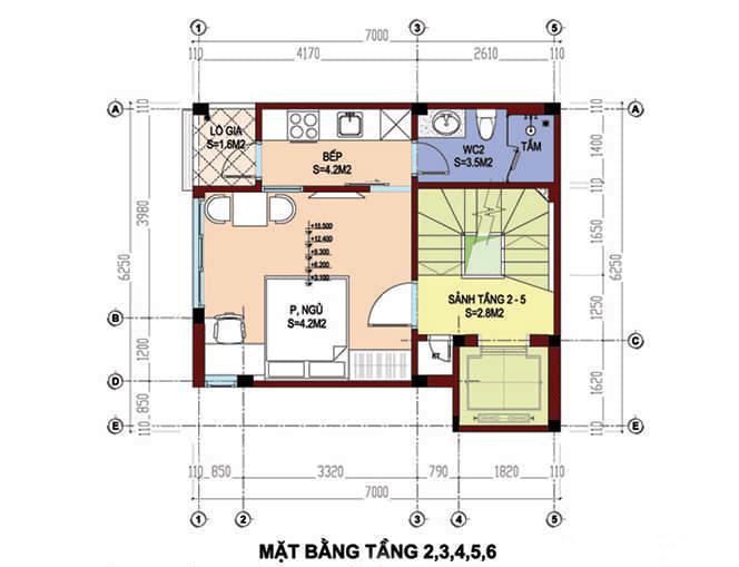 Mặt bằng thiết kế tầng 2,3,4,5,6