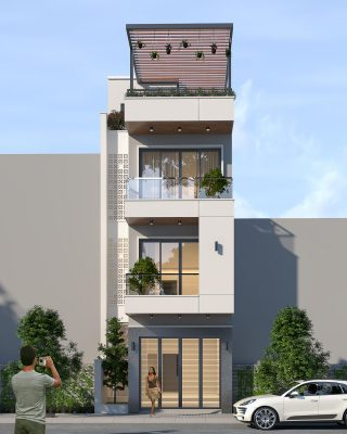 Mẫu nhà 3 tầng 1 tum mặt tiền 4m hiện đại tại Phú Thọ