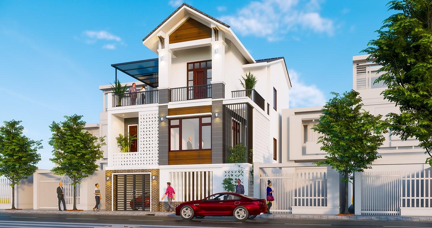 Thiết kế nhà phố 3 tầng mặt tiền 7,5m tại Phú Thọ