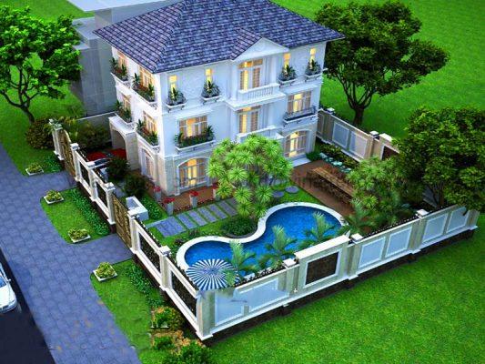 Nhà 3 tầng sân vườn tổng chi phí 2 tỷ