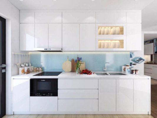 Thiết kế phòng bếp hiện đại màu trắng